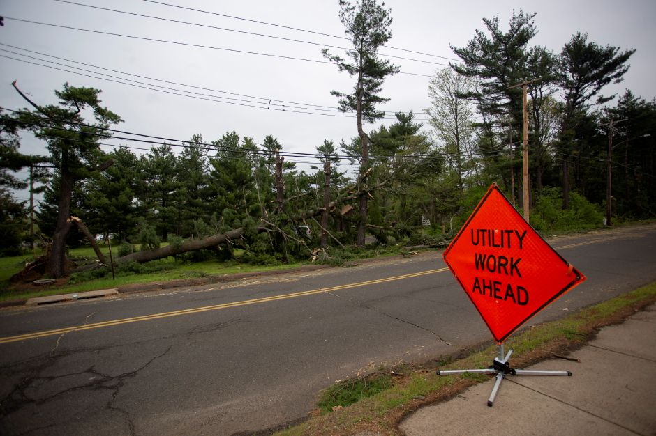 Scrub Oad Road in North Haven, near the Wallingford line, was closed May 16, 2018 as crews cleaned up storm damage from the previous day
