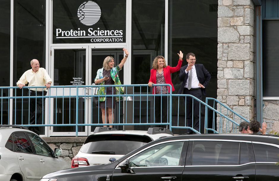 Visitors exit Protein Sciences at 875 Research Parkway in Meriden, Tuesday, July 11, 2017. | Dave Zajac, Record-Journal