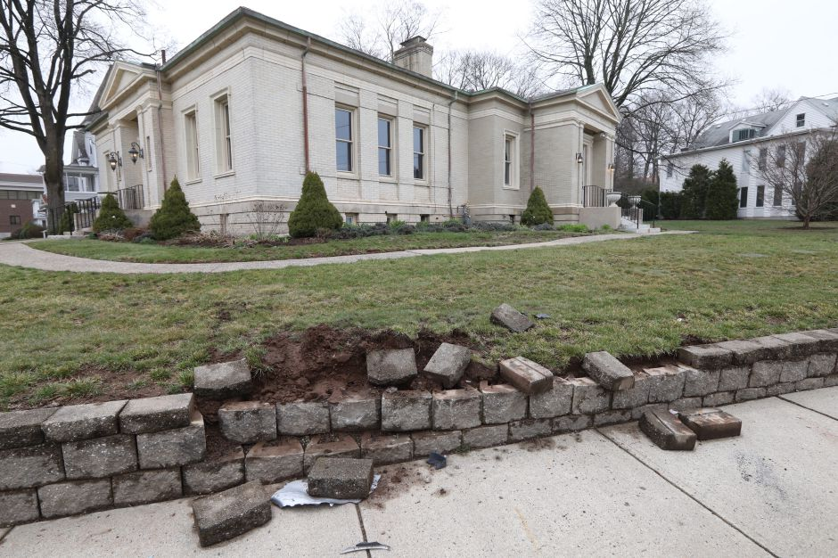 A retaining wall damaged by a vehicle next to the Southington Historical Society, Mon., Apr. 8, 2019.   Dave Zajac, Record-Journal