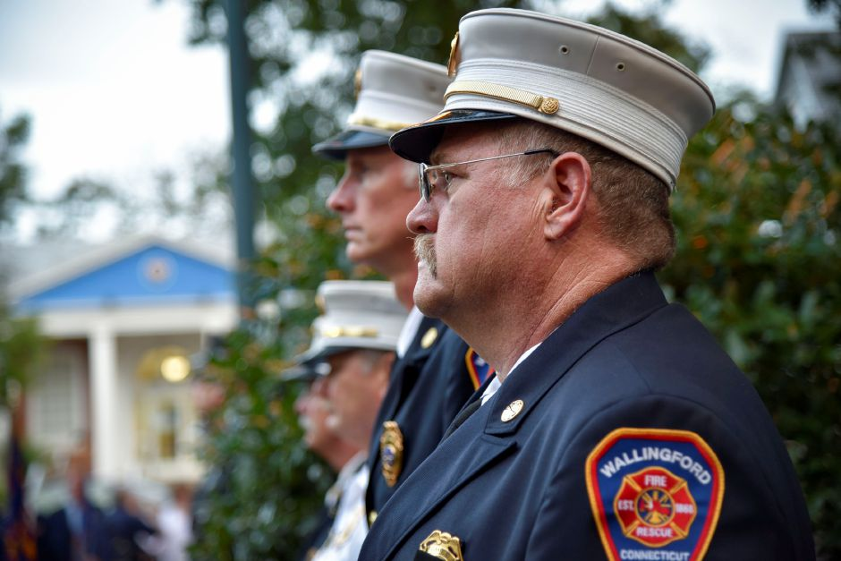 Wallingford Fire Chief Richard Heidgerd at a 9/11 remembrance ceremony at the Wallingford Town Hall on Tuesday, September 11, 2018. | Bailey Wright, Record-Journal