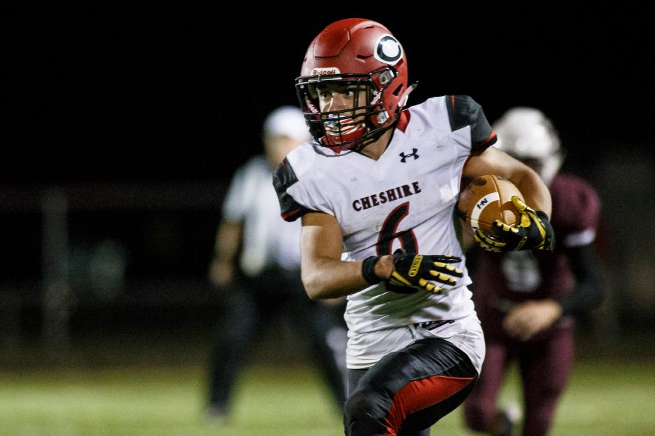 Freshman Christian Russo is quickly becoming a factor in the Cheshire attack. He had five carries and five receptions in Friday's 34-21 loss in North Haven. | Justin Weekes / Special to the Record-Journal