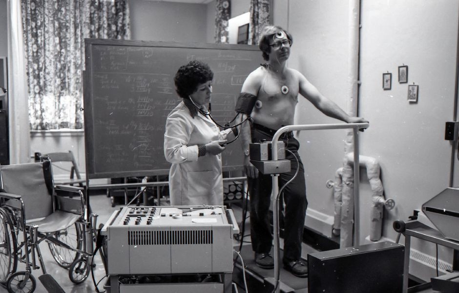 Ms. Elizabeth Bartley, coordinator of electrodagnostics, administers a treadmill test to Gene Welles at the Meriden-Wallingford Hospital, Oct. 14, 1975.