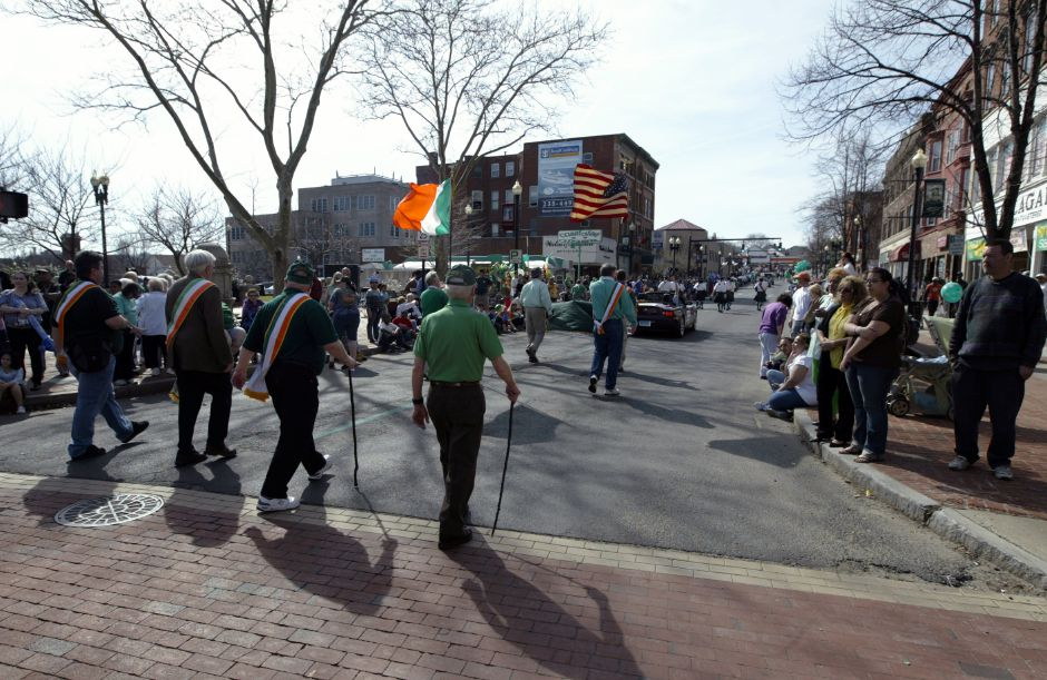 The parade continues through the business district during the annual St. Patrick