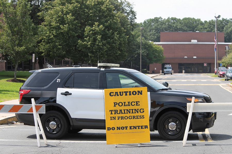 Southington police conduct a training exercise at Southington High School, Tuesday, August 28, 2018. Dave Zajac, Record-Journal