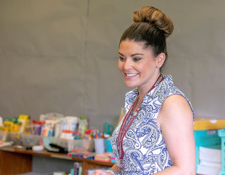 Second-grade teacher, Melissa Sciarretto, instructs in her temporary classroom at Thomas Hooker Elementary School in Meriden, Monday, August 27, 2018. Sciarretto