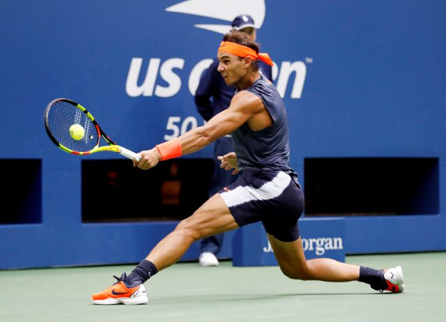 Rafael Nadal, of Spain, returns a shot to Juan Martin del Potro, of Argentina, during the semifinals of the U.S. Open tennis tournament, Friday, Sept. 7, 2018, in New York. (AP Photo/Adam Hunger)