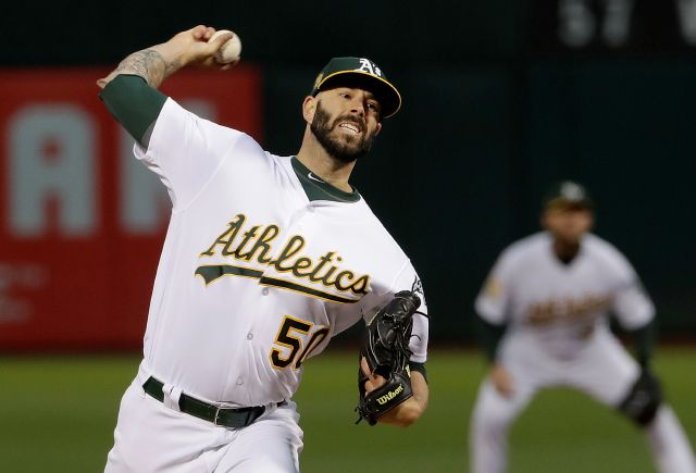 Oakland Athletics pitcher Mike Fiers throws to a New York Yankees batter during the first inning of a baseball game in Oakland, Calif., Wednesday, Sept. 5, 2018. (AP Photo/Jeff Chiu)