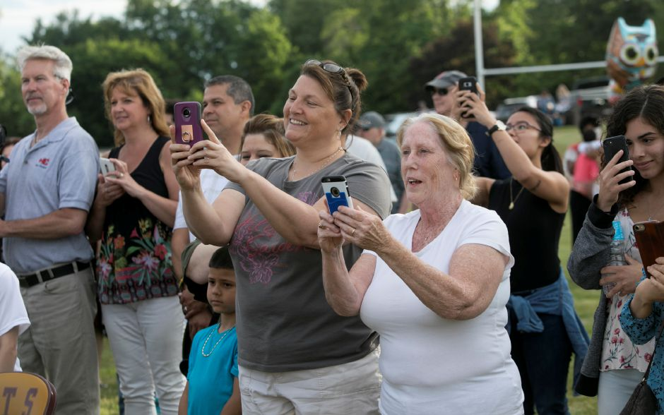 Families take photos and video of graduates during graduation ceremonies at Sheehan High School, Friday, June 22, 2018. Dave Zajac, Record-Journal
