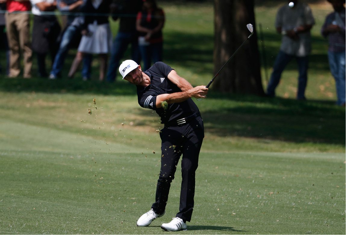 Dustin Johnson of the U.S. hits a ball on the 1st hole in round three of the Mexico Championship at Chapultepec Golf Club in Mexico City, Saturday, March 4, 2017. All but one of the world