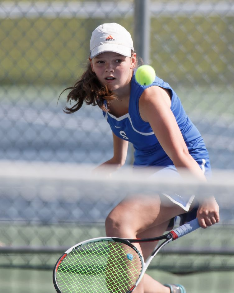 Abby Murphy and the Southington girls tennis team earned coach Robin Thompson career win No. 100 with Friday's 7-0 sweep in East Hartford. | Justin Weekes / Special to the Record-Journal