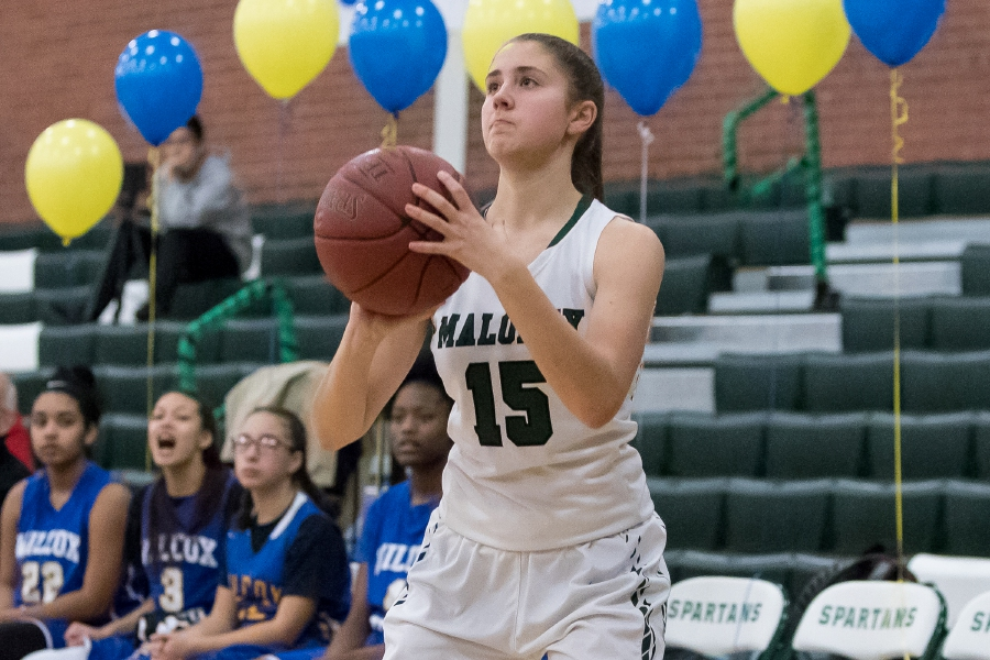 Maloney senior Alexa Papallo hits a 3-pointer in her final game with the Spartans.