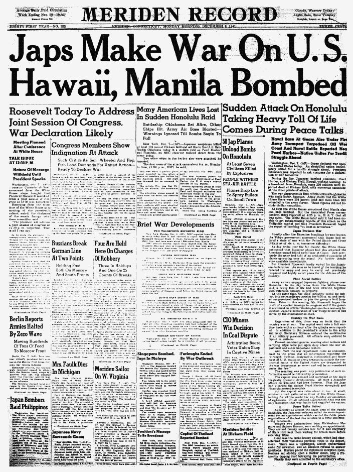 The front page of the Record-Journal, then named the Meriden Record, on Dec. 8, 1941, the day after the Japanese attacks on Pearl Harbor.