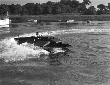 A pontoon hydroplane, a new type safety boat, invented by Simeon Lake, noted submarine expert, as it had its test at Milford, Connecticut on Sept. 21, 1932. The boat has three point contacts in the pontoons which are synchronized, the rear pontoon acting as a rudder. It is claimed that the boat can turn in its own length at any speed in the water. (AP Photo)