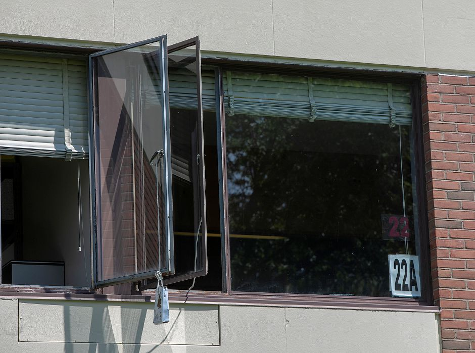 Classroom windows opened to vent smoke after a fire at Thomas Hooker Elementary School in Meriden, Friday, August 10, 2018. Dave Zajac, Record-Journal