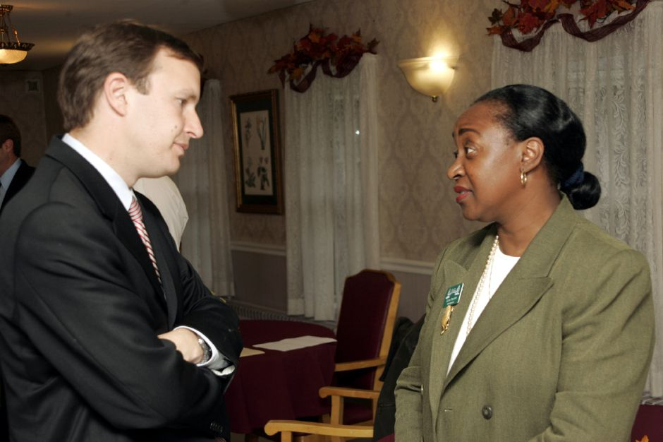 Chris Murphy at Westfield Care and Rehab Center Fri., Oct. 20 with Elaine Madden, right, administrator.