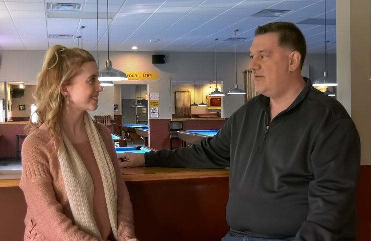 Record-Journal Digital Content Producer Ashley Kus talks with Bobby Hilton, owner of Yale Billiards, about the new location at 169 N Plains Industrial Rd, Wallingford. |Ashley Kus, Record-Journal