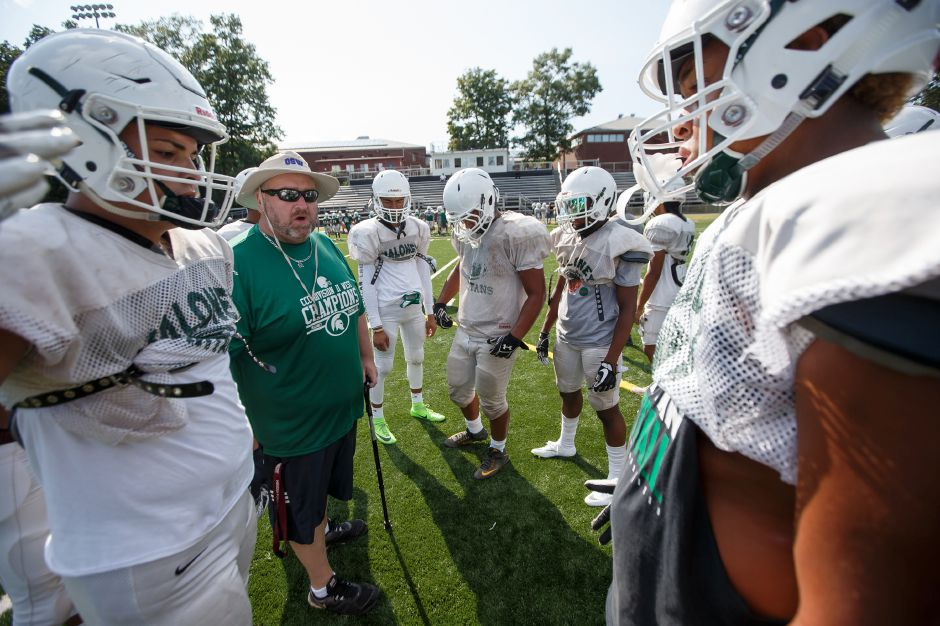 Former Lyman Hall head coach Aidan Lynch, who took teaching job at Maloney last year, is now an assistant coach for Spartans' head man Kevin Frederick. | Justin Weekes / Special to the Record-Journal