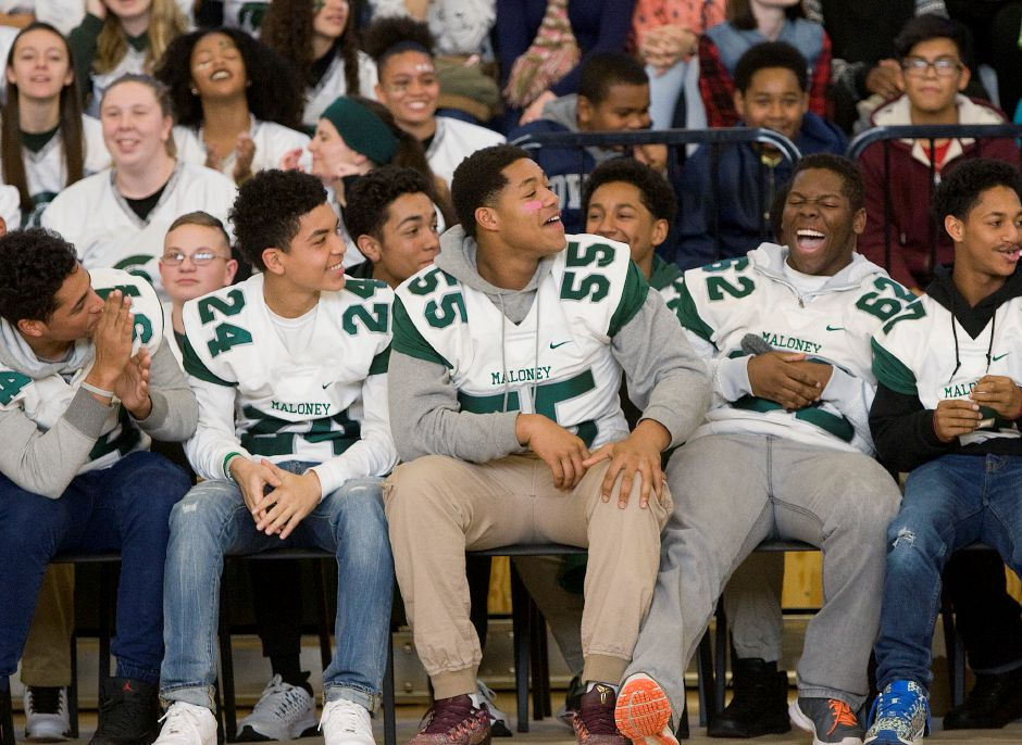 Maloney Spartans football players enjoy some laughs during the annual pep rally at Maloney High School, Wednesday, November 23, 2016. | Dave Zajac, Record-Journal