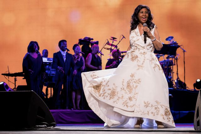 "FILE- In this April 19, 2017, file photo, Aretha Franklin performs at the world premiere of ""Clive Davis: The Soundtrack of Our Lives"" at Radio City Music Hall, during the 2017 Tribeca Film Festival in New York. Franklin died Thursday, Aug. 16, 2018 at her home in Detroit.  She was 76. (Photo by Charles Sykes/Invision/AP, File)"
