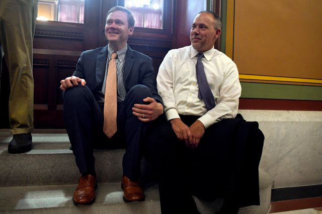House Majority leader Matt Ritter D-Hartford, left, sits with Speaker of the House Joe Aresimowicz, D-Berlin at the State Capital, Wednesday, May 9, 2018, in Hartford, Conn. (AP Photo/Jessica Hill)