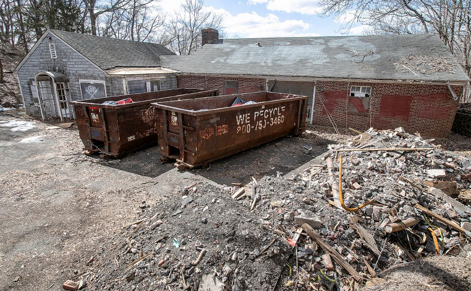 Dumpsters in front of the former Choate boathouse on Washington Street in Wallingford, Mon., Mar. 18, 2019. Dave Zajac, Record-Journal