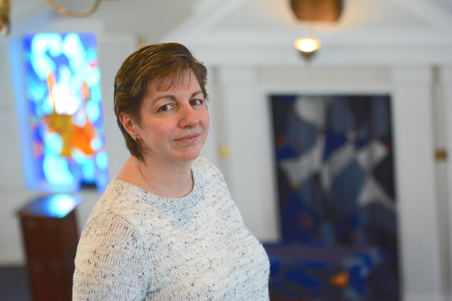 Temple Beth David President Kim Math at the synagogue in Cheshire on Monday, March 6. | Bryan Lipiner, Record-Journal