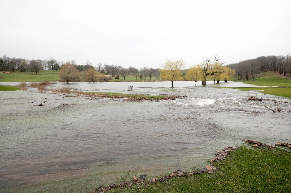 View of the 10th and 18th hole fairways flooded at Hunter Golf Club in Meriden, Monday afternoon, April 16, 2018. Dave Zajac, Record-Journal