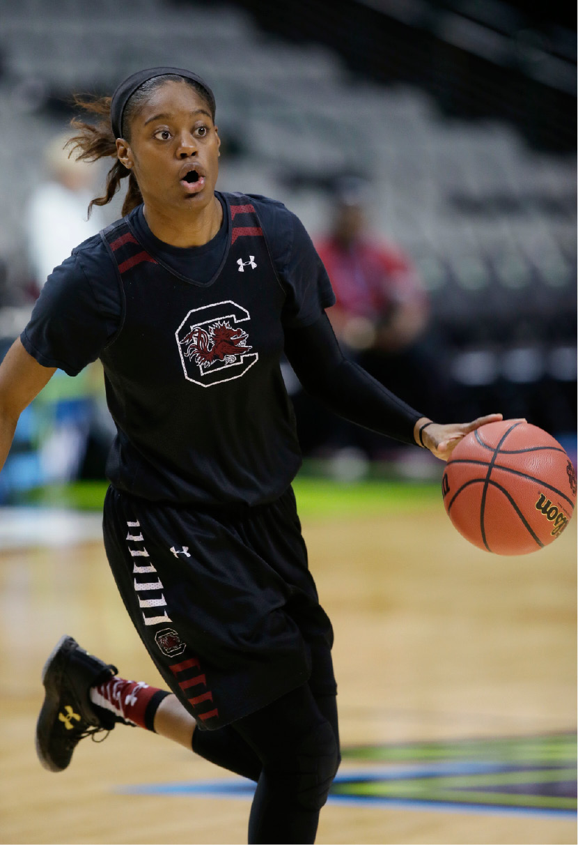 South Carolina guard Kaela Davis takes part in a practice session for the women