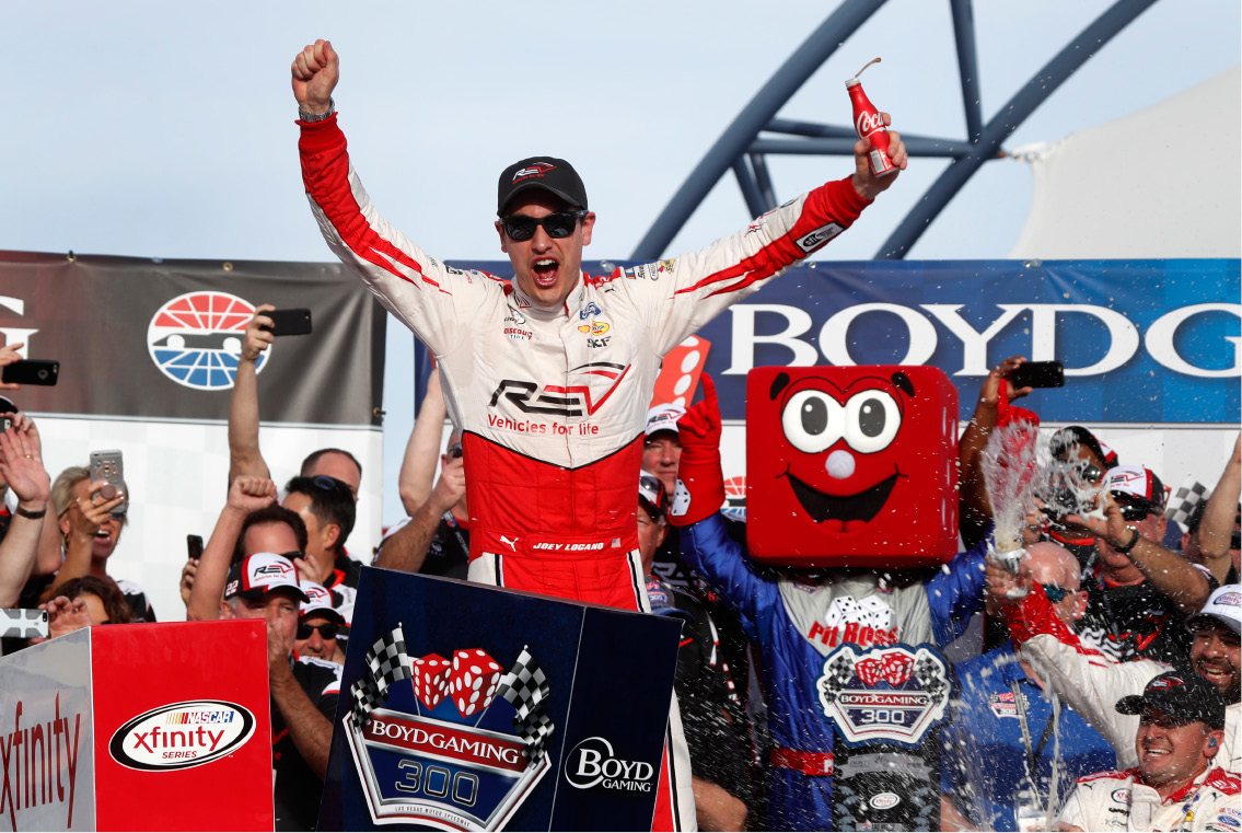 Middletown native Joey Logano celebrates in victory lane after winning the Boyd Gaming 300, a NASCAR Xfinity Series auto race, at the Las Vegas Motor Speedway Saturday. | Associated Press