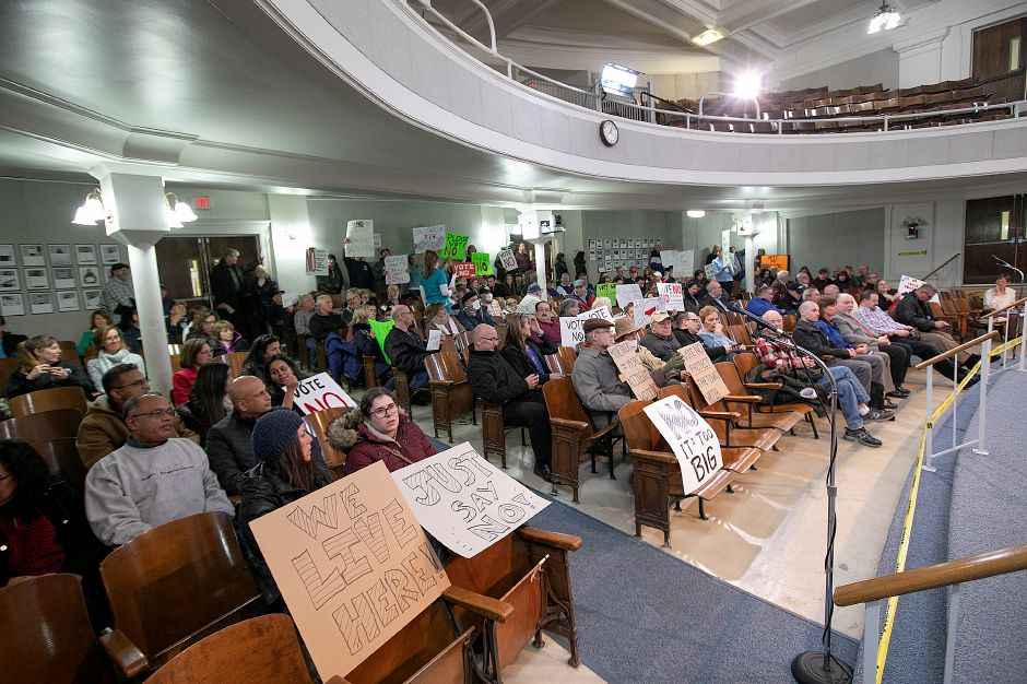 Concerned citizens protest development of the former Bristol-Myers Squibb property during a Planning and Zoning meeting at Wallingford Town Hall, Mon. Jan. 14, 2019. Dave Zajac, Record-Journal