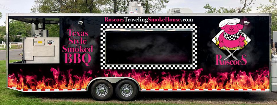 Roscoes Traveling Smokehouse food trailer. Courtesy Dave Silvia