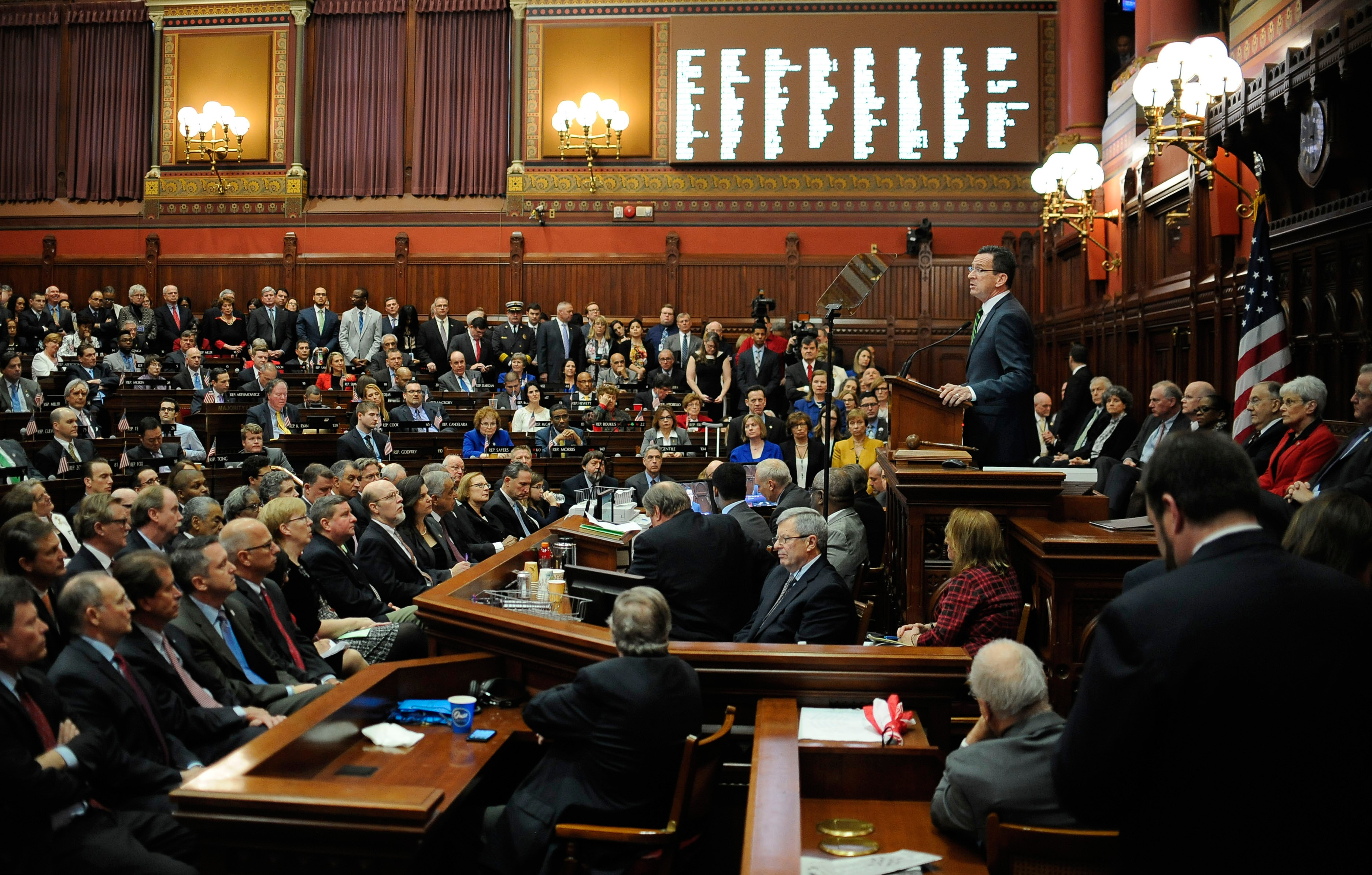 FILE PHOTO - Connecticut Gov. Dannel P. Malloy delivers his budget address to the senate and house inside the Hall of the House at the State Capitol, Wednesday, Feb. 3, 2016, in Hartford, Conn. (AP Photo/Jessica Hill)