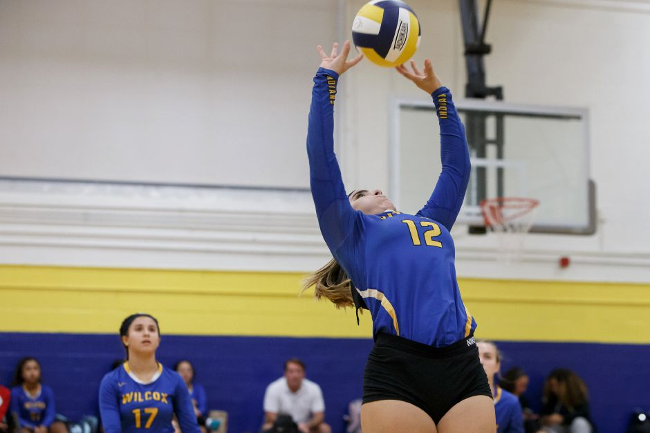 Madison Rios handed out 11 assists and landed six aces Wednesday to help the Wilcox Tech vollleyball improve to 3-0 with a 3-0 sweep of Norwich Tech in a CTC match in Meriden. | Justin Weekes / Special to the Record-Journal