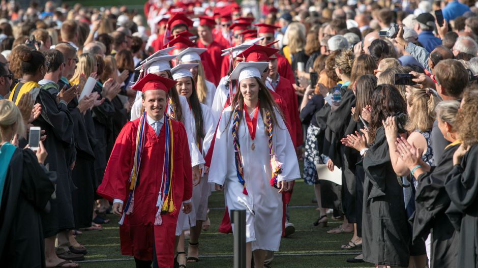 The Class of 2018 walk in procession to graduation ceremonies at Cheshire High School, Thursday, June 21, 2018. Dave Zajac, Record-Journal