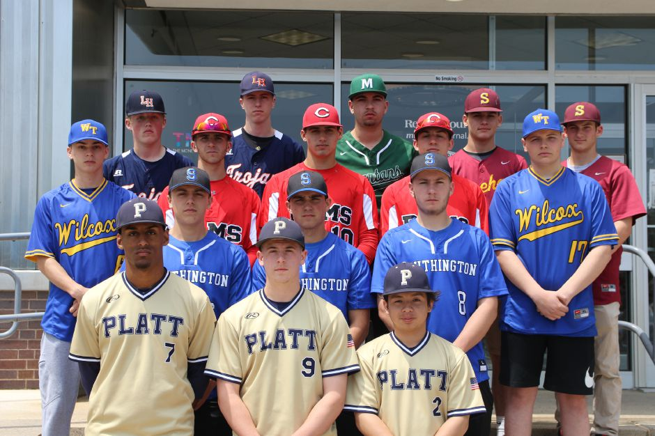 Introducing the 2019 All-Record-Journal Baseball Team. In front, from Platt, left to right, are E.J. Dudley, Jack Clancy and Peyton Thiel. The Southington guys in the second row are Jake Neuman, Andrew Paradis and Jake Romano. In the third row, Wilcox Tech's Nick Priebe (far left) and Sean Dupuis (far right) bookend Cheshire's Ryan Cyr, Matt Downing and Ryan Strollo. The back row features Lyman Hall's Cam Baker and Colin Blake, Maloney's Owen Papciak and Sheehan's Kyle Simmons and Evan Wilkinson. Not pictured is Maloney's Elliot Good. Spencer Davis, Record-Journal