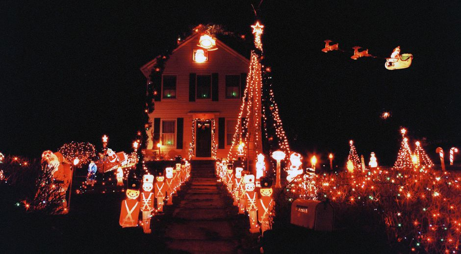 RJ file photo - This house on Bailey Avenue in Meriden is all decked out with a yard full of statues and Santa and his sleigh in the air, Dec. 1998.