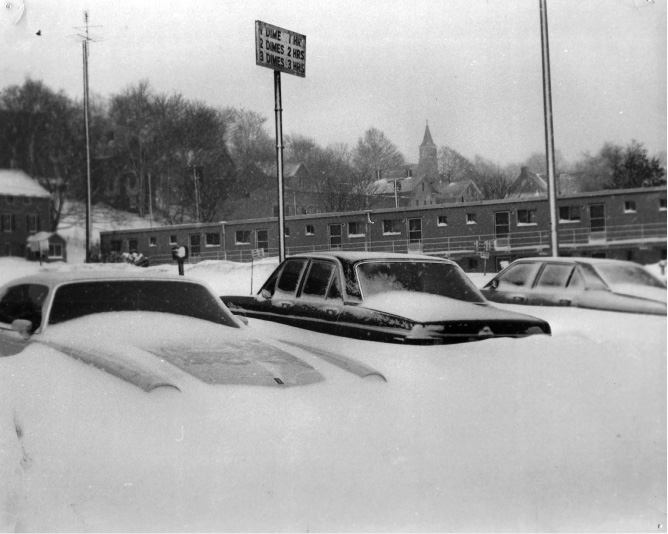 Snow drifts around cars in a municipal parking lot along East Main Street in Meriden during the Blizzard of 1978. | File photo / Record-Journal