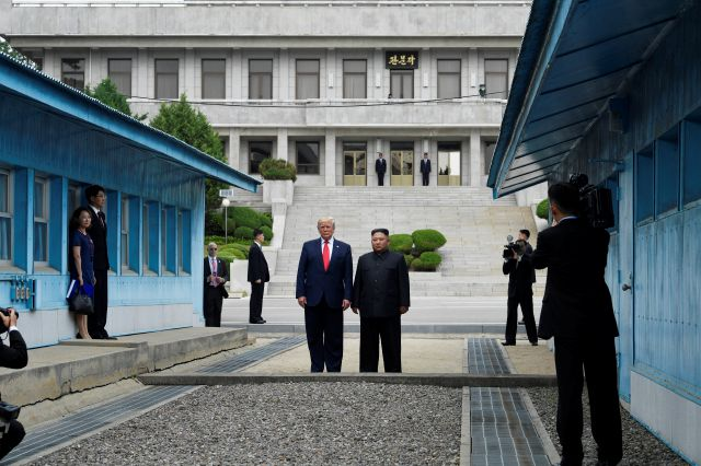 FILE - In this June 30, 2019, file photo, President Donald Trump meets with North Korean leader Kim Jong Un at the border village of Panmunjom in the Demilitarized Zone, South Korea. Trump, the self-styled deal-maker president, is struggling to close big deals. He heads to the United Nations this coming week saddled with a heavy load of unresolved foreign policy challenges involving Iran, North Korea, Afghanistan, the Mideast and more. (AP Photo/Susan Walsh)