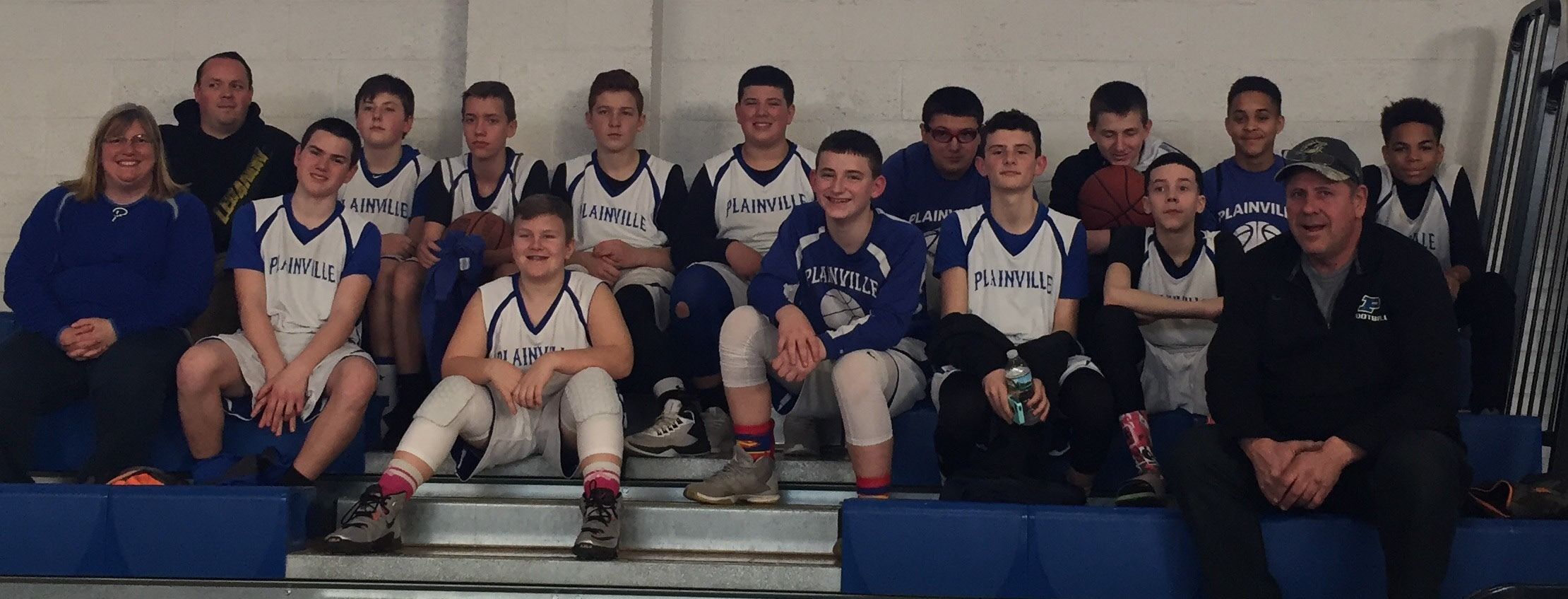 The Plainville eighth grade boys travel basketball team finished its season with a dominating 17-2 record. The team won the North Central Connecticut Conference Division during the regular season and placed second in the playoff tournament. The Plainville team was comprised of: Ryan Barker, Jayden Barton, Tanner Callahan, Alec Couture, Jayden Derosier, Jacob Deschaine, Austin Halat, Dylan Hall, Anthony Lestini, Adrien Marcos, Daniel Nanowski, Javan Paradis and Xavier Pastor. The team was coached by Steve Barker, Julie Callahan and Matt McLellan.