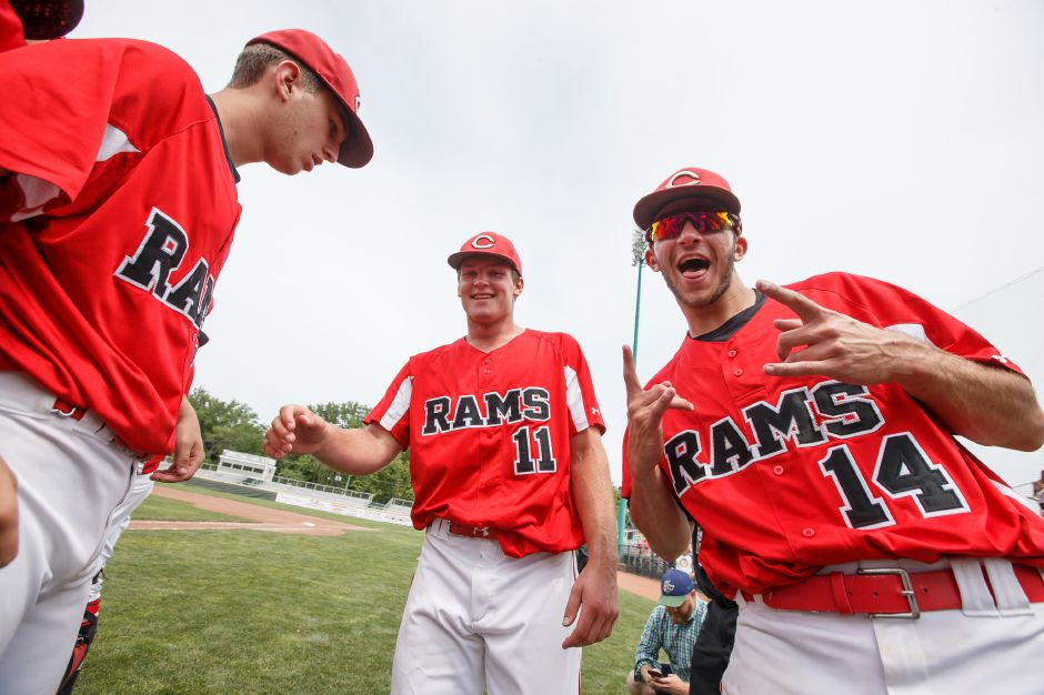 Rams celebrate Saturday during the CIAC Class LL final at Palmer Field in Middletown. Cheshire Rams defeated Ridgefield 1-0 May 31, 2016 | Justin Weekes / Special to the Record-Journal