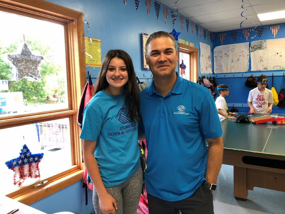 Summer camp volunteer Caitlin Trutnau of Wallingford named the 2019 Ulbrich Boys & Girls Club 'Youth of the Year' standing next to the Executive Director, Carlos Collazo. |Kristen Dearborn, contributed.