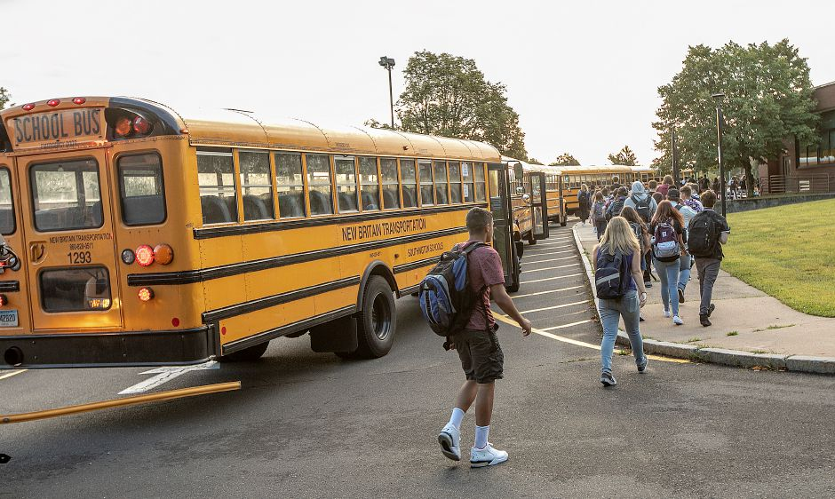 Students arrive for the first day of school at Southington High School, Thurs., Aug. 29, 2019. Dave Zajac, Record-Journal