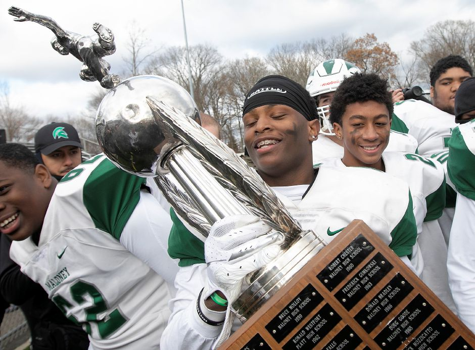 Maloney running back James Tarver was named Stoddard Bowl MVP after rushing for 287 yards and five touchdowns Thursday in Maloney's 42-6 victory over Platt at Falcon Field. Dave Zajac, Record-Journal