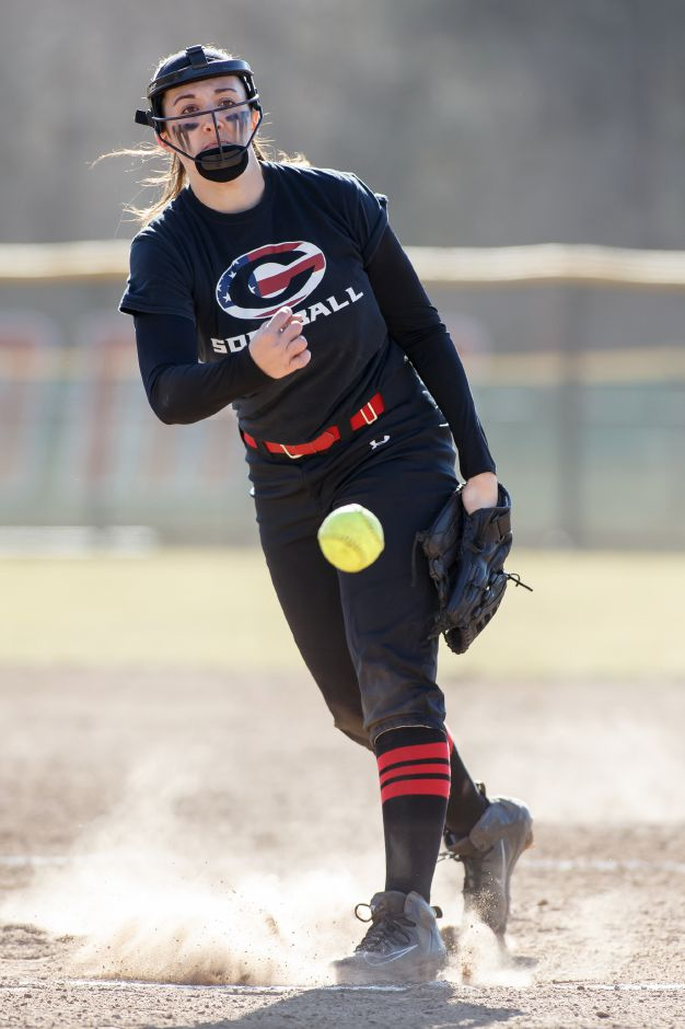 Natalie Amato had a career-high 12 strikeouts in Cheshire's 3-2 victory in nine innings Friday over Lauralton Hall in Milford. | Justin Weekes / Special to the Record-Journal