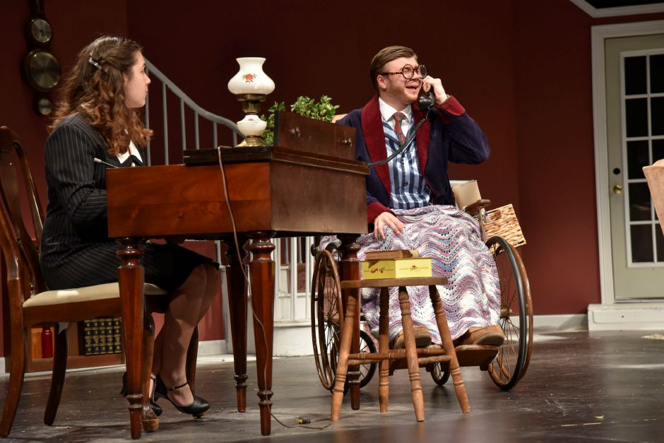 "Maloney High School theater students Lia Cruz and Weston Pytel rehearse ""The Man Who Came to Dinner"" on Monday night. The play opens this weekend, Thursday through Saturday. 