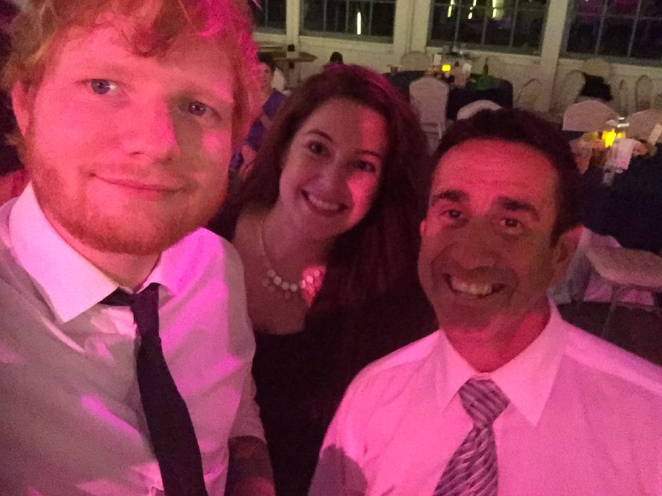 DJ Bill Mazzucco, right, poses with wedding guest and singer Ed Sheeran, one of a few celebrity encounters during Mazzucco's more than 30 year career as a DJ.