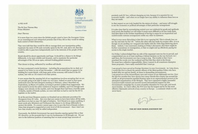 In this two photo combination image, taken from the Twitter feed of Boris Johnson, Monday July 9, 2018, showing the resignation letter addressed to Prime Minister Theresa May, and signed from Foreign Secretary Boris Johnson. Foreign Secretary Boris Johnson quit his Cabinet post with an accusatory resignation letter, the second top government minister to quit over Brexit negotiations. (@BorisJohnson/Twitter via AP)