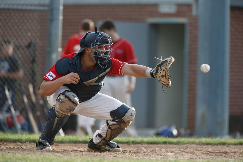 RJ Expos catcher Mike Gulino Friday at Ceppa Field in Meriden July 6, 2018 | Justin Weekes / Special to the Record-Journal