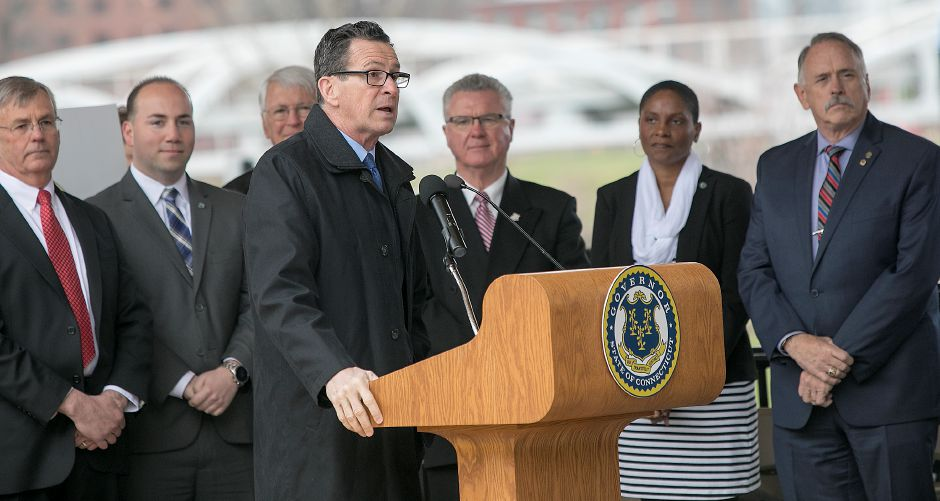 Gov. Dannel P. Malloy speaks at the Meriden train station, Thursday, April 19, 2018. State and city leaders crowded onto the platform at the new Meriden train station to cut the ribbon on the CTrail Hartford Line, which officials hope will provide an alternative option for commuters and potentially ease highway congestion. Dave Zajac, Record-Journal