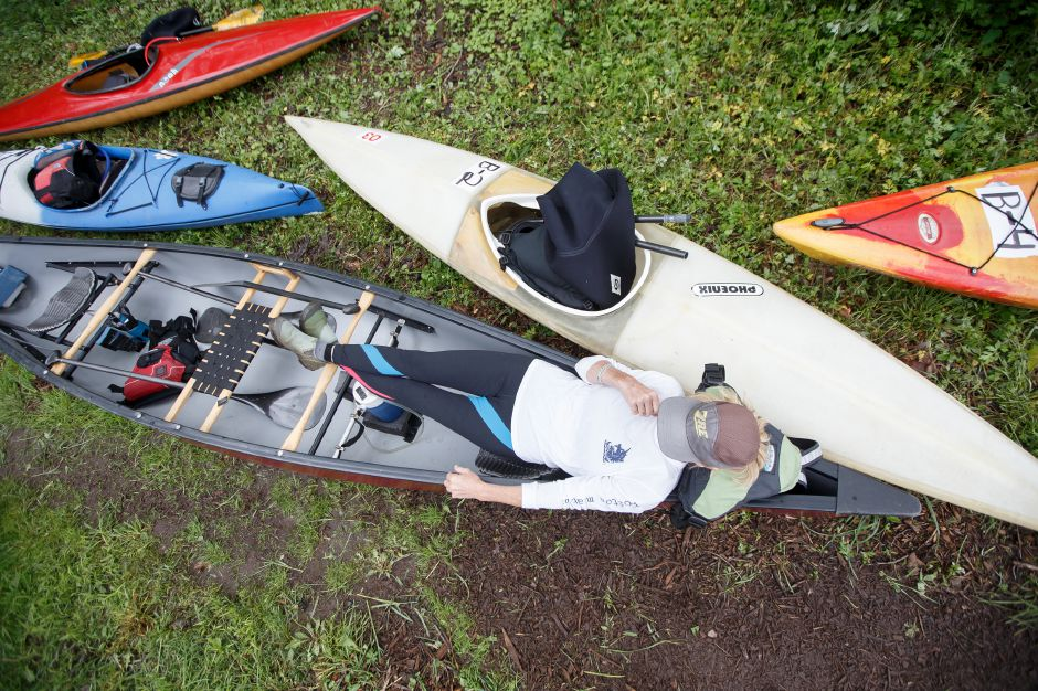Valarie Hamlett traveled from Athol Mass to compete Sunday during the 38th annual Down River Classic on the Quinnipiac River in Meriden May 20, 2018 | Justin Weekes / Special to the Record-Journal